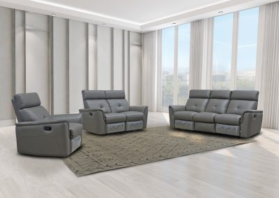 Living Room Furniture Reclining and Sliding Seats Sets 8501 Dark Grey w/Manual Recliner