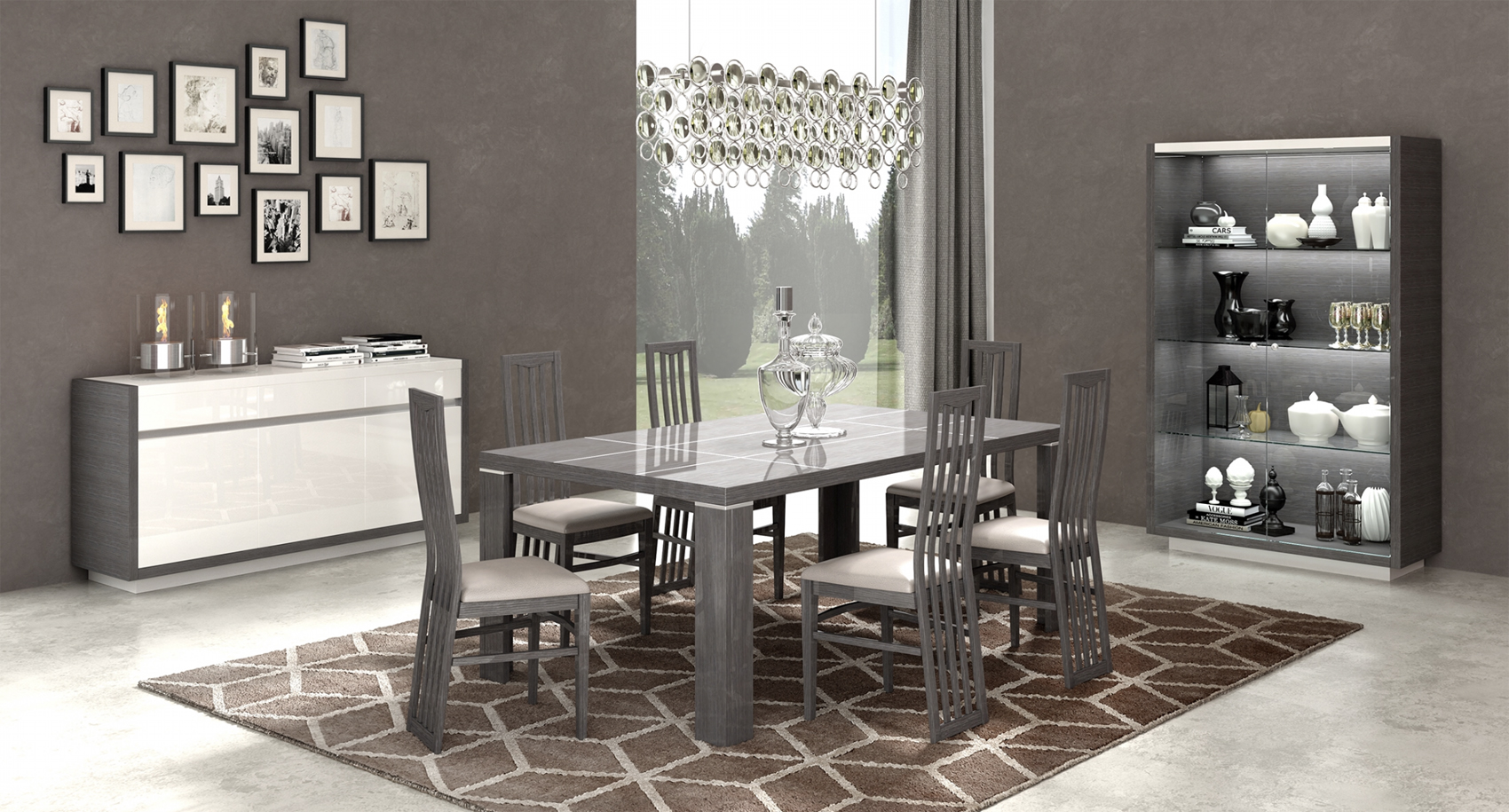 Mangano Dining Modern Room Sets, Modern Dining Room Sets With Buffet