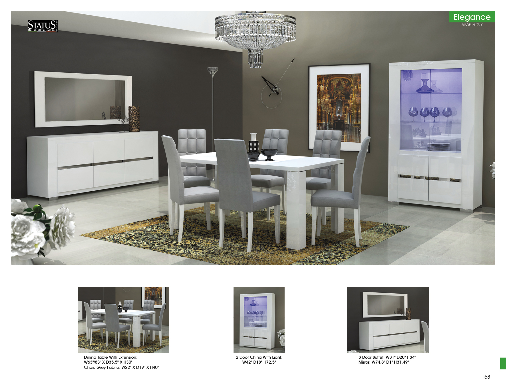 Elegance Dining Room Modern, Modern Dining Room Sets With Buffet